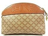 CELINE (セリーヌ) CELINE ヴィンテージ マカダム ロゴ レザー 化粧ポーチ マルチケース バッグ ブラウン 3897R 中古