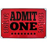 Admit One Red Movie Theatre Ticket Metal Sign Home Theater Wall Decor