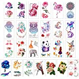glaryyears Temporary Tattoo Sticker - Over 55 Flower and Animal Designs (25 Sheets) in Waterproof Fake Tattoo Rose Dreamcatcher Unicorn Collection for Girl Women Kids 2.36 x 4.13 inch