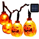 Pumpkin String Lights Outdoor Halloween Lights with 30 LEDs Pumpkin Solar Power String Lights for Outdoor,Home,Patio,Garden D