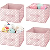 mDesign Soft Fabric Closet Storage Organizer Holder Box Bin - Attached Handle, Open Top, for Child/Kids Bedroom, Nursery, Toy