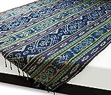 イカット(特大 ワイドロング) A 【インドネシアの絣織り、ソファカバー ベッドカバー マルチクロス】大判サイズ 約236×120cm 和室 洋室 を問わず便利に使えるインテリアクロス