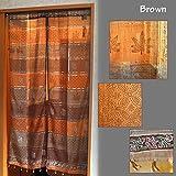 インド綿 のれん グラデーションヘンプ ブラウン 全5色 85×150cm ペイズリー ヘンプ アジアン