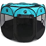 Gaorui Portable Foldable Pet Playpen Exercise Kennel Indoor Outdoor Cage Removable Mesh Shade Cover for Dogs Puppy Cats Kitte