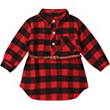 Kayotuas Toddler Kids Baby Girl Plaid Dress Long Sleeve Belted Botton Down Shirts Dresses Infant Autumn Outfits