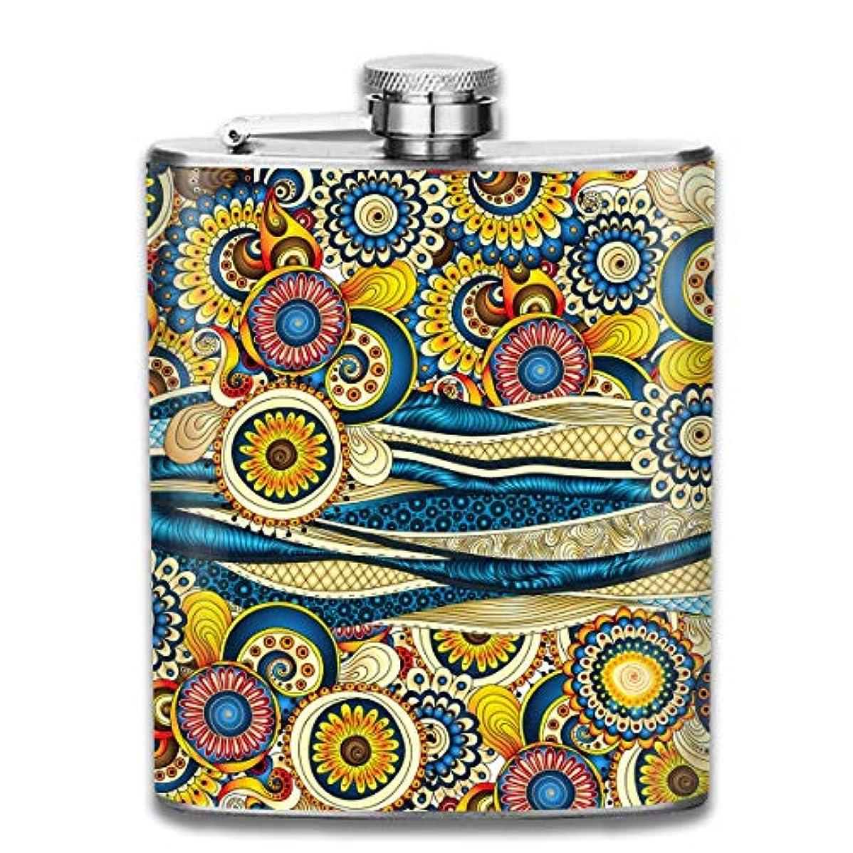 本部オーバーコート不名誉インドのモチーフフラスコ スキットル ヒップフラスコ 7オンス 206ml 高品質ステンレス製 ウイスキー アルコール 清酒 携帯 ボトル