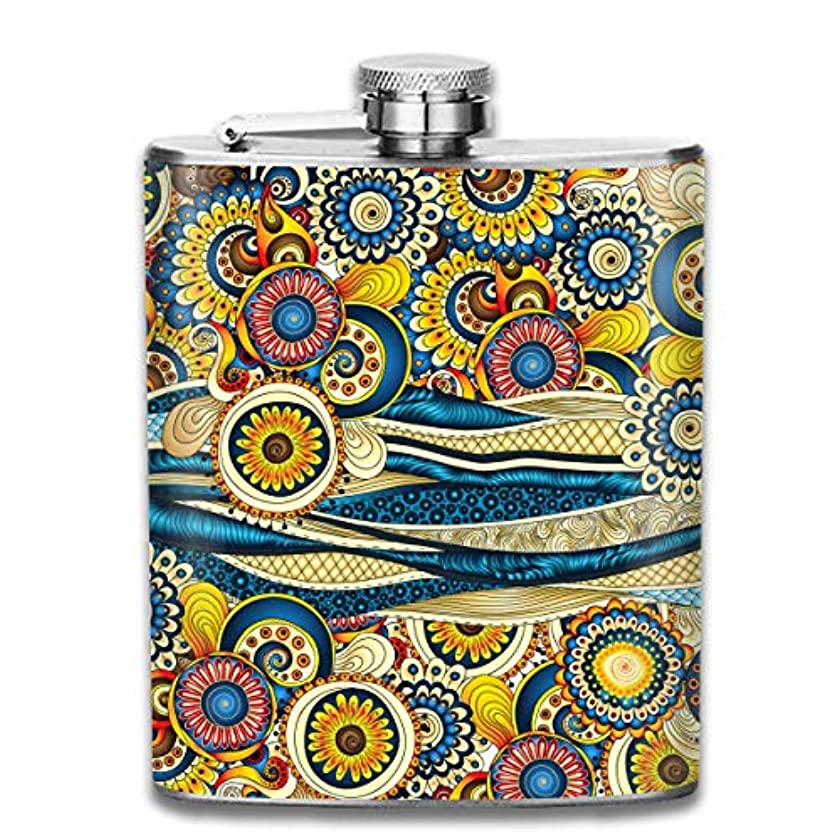 休憩モーション起きてインドのモチーフフラスコ スキットル ヒップフラスコ 7オンス 206ml 高品質ステンレス製 ウイスキー アルコール 清酒 携帯 ボトル