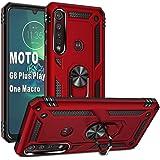 "Folmeikat Moto G8 Plus/Play,Motorola One Macro 360 電話ケース 金属回転リングキックスタンドホルダーグリップ内蔵磁気金属プレートアーマーヘビーデューティーショックプルーフ 6.3"" (レッド)"