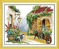 LovetheFamily 花とトロリー 58x48cm DIY 手作り刺繍キット 正確な図柄印刷クロスステッチ 家庭刺繍装飾品 11CT インチ当たり11個の小さな格子 刺しゅうキット フレームがない ホーム オフィス装飾 手芸 手工芸 キット 芸術 工芸 DIY 手作り 家庭装飾品