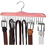 TOPIA HANGER American Red Cedar Wood Belt Hangers,High-Grade 12 Belt Racks Organizers, Non-Slip Durable Closet Hanger for Han