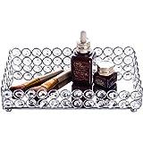 Feyarl Crystal Jewellery Trays Rectangle Cosmetic Organizer Tray Mirrored Decorative Tray (Silver)