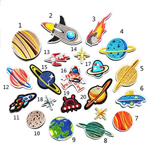 ワッペン セット 宇宙飛行士 アース 20個入れ アイロン接着 ハンドメイド かわいい