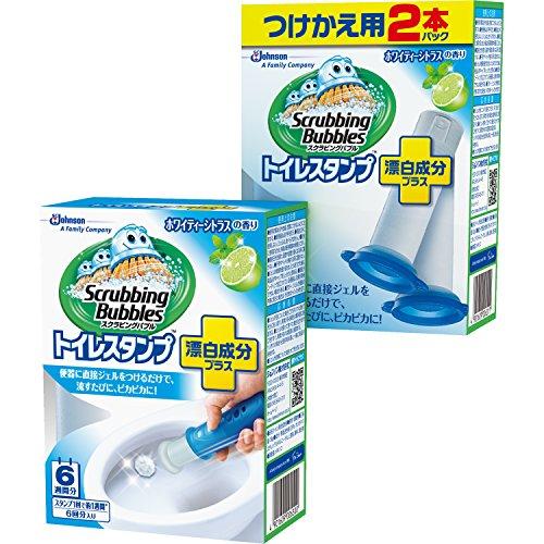 【まとめ買い】 スクラビングバブル トイレ洗剤 トイレスタンプクリーナー漂白プラス ホワイティーシトラスの香り 本体(ハンドル1本)+付替用2本セット