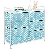 mDesign Wide Dresser Storage Tower - Sturdy Steel Frame, Wood Top, Easy Pull Fabric Bins - Organizer Unit for Bedroom, Hallwa