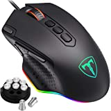 PICTEK RGB Gaming Mouse, [2019 Upgraded] Wired Mouse Gaming with Fire & Sniper Button, 10 Programmable Buttons, 12000 DPI, We