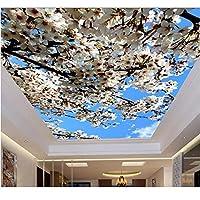 Ansyny 3D天井の壁紙をカスタマイズする美しい桜の花の3D立体天井の壁紙の不織布の3D天井-130X100CM