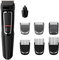 Philips Multigroom Series 3000 8-in-1 Face and Hair Cordless Trimmer with 8 Tools, Rinseable Attachments & up to 60 min...