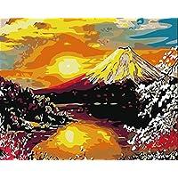 DIY 数字油絵 キャンバスの油絵 大人の子供のためのギフト 数字キットでペイント ホームデコレーション - 富士山 40* 50 cm