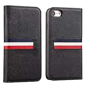 iPhone8 ケース/iPhone7 ケース 手帳型 レザー TPU カード収納 マグネット式 スタンド 全面保護 オシャレ JENUOS アイフォン8/7カバー ブラック