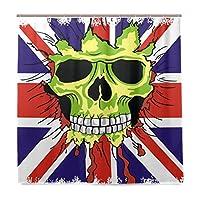 VAWA シャワーカーテン 防カビ おしゃれ 髑髏柄 イギリスの国旗 バスカーテン リング付属 防水 風呂カーテン 間仕切り 180x180 cm