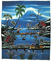 現代アートバティック 縦 M『農村の風景とアヒル』74x92cm アジアン雑貨 並行輸入品【ノーブランド品】 [並行輸入品]