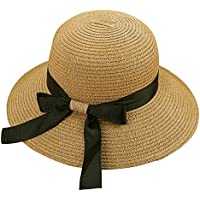 Women's Big Brim Sun Hat Floppy Foldable Bowknot Straw Hat Summer Beach Hat UPF 50+