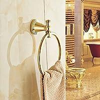 家庭の照明- ヨーロッパのすべての銅タオルリングタオルラックゴールドラウンド浴室タオル
