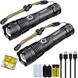 2 Pack LED Rechargeable XHP70 Flashlight 5 Modes 5000 High Lumens Super Bright Waterproof Tactical Zoomable Handheld Torch Li