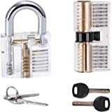 2 Pcs Acrylic Transparent Visible Practice Cutaway Lock with 2 Key Locksmith Excercise