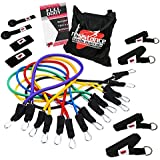 Resistance Bands Ultimate Workout System - 17pc Set - 80kgs with Premium Quality Fitness Exercise Tubes and Heavy Duty Components - Total Home Gym in One Allows You To Tone and Sculpt Your Entire Body
