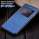 iPhone6s Plus ケース 手帳型ケース 窓付きケース レザー革 iPhone6s Plusケース スマホケース iPhoneケース iPhone6プラス アイフォン6プラス iPhone6Plus iPhoneカバー スマホカバー(iPhone6 Plus/6s Plus用, ダークブルー)