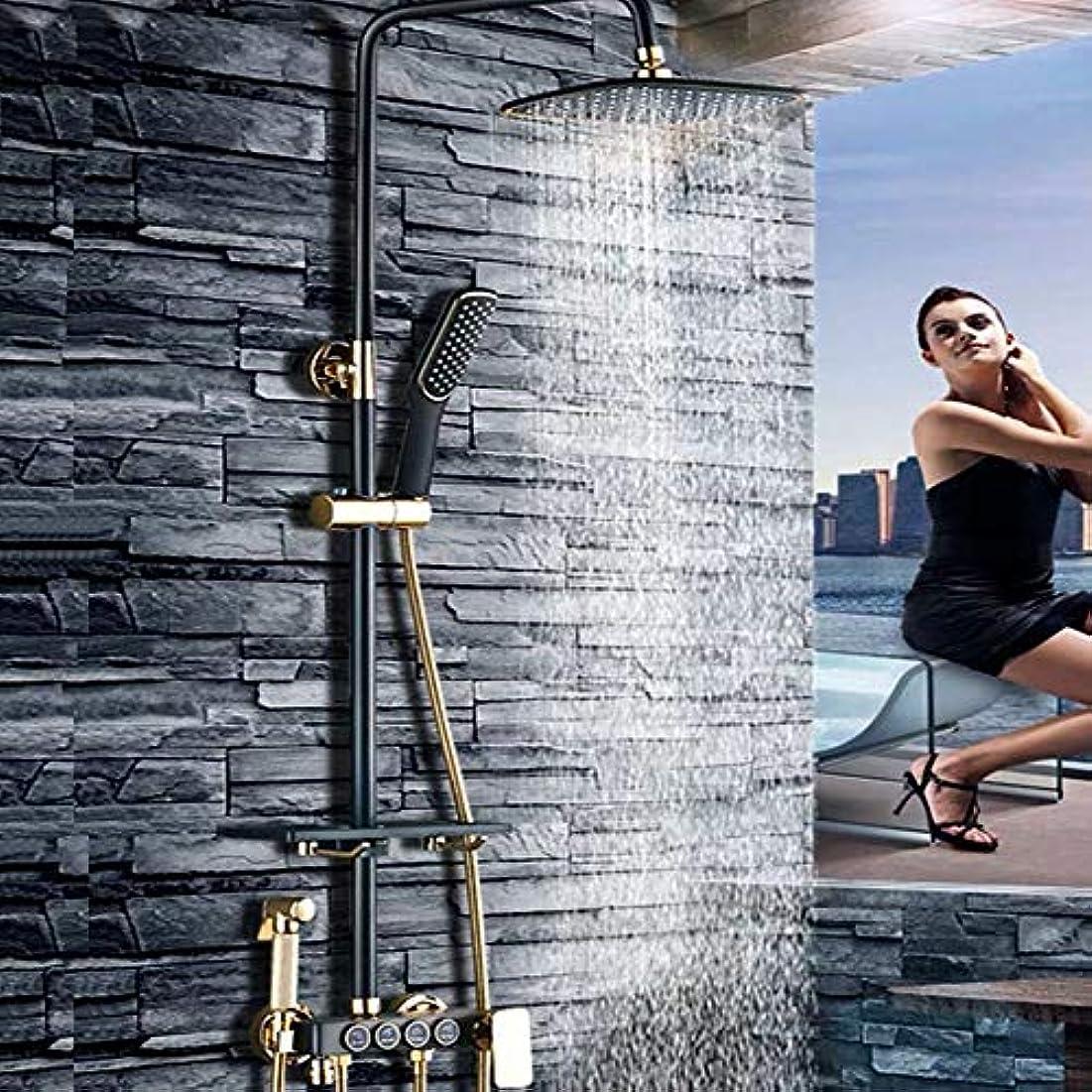 近似長いです破滅的なブラックシャワーシェルフシャワーセットサイズとセット/全銅の蛇口浴室のシャワーブースターシャワーヘッド/ファイン銅のテーマ:* 900ミリメートル340 浴室用設備