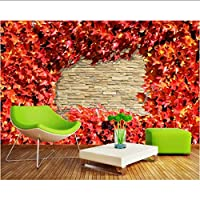 Mingld ファッションヴィンテージレンガの壁カエデの葉3D大壁画壁紙リビングルームの寝室の壁紙絵画テレビの壁の壁紙-200X140Cm