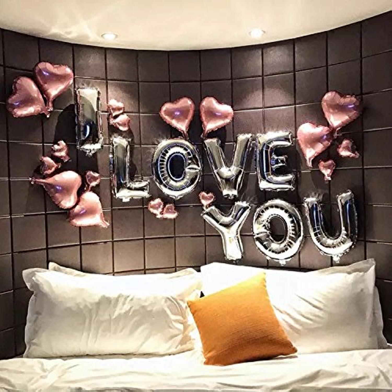 アルファベット ハート I Love You ピンク シルバー  パーティー 結婚式 バレンタインデー お祝い 告白 装飾用 風船  バルーン 記念日 (シルバー)