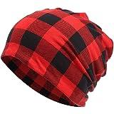 KISSTYLE 帽子 メンズ レディース ニット帽 薄手 コットン オールシーズン ワッチ バッファローチェック