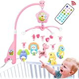 Baby cot Mobile for Pack and Play, Baby Mobile for Crib with Lights and Music,Remote with Toy, arm, Projector (Pink-Forest)