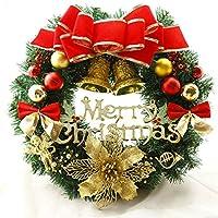 クリスマス リース 玄関 ドア ゴージャス かわいい 選べる 3種類 ゴールド レッド パウダースノー (直径40cm, E)