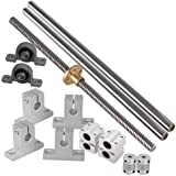 Industrial Combination,Ideaker 500mm Horizontal Optical Axis & 8mm Lead Screw Dual Rail Shaft Support Pillow Block Bearings &