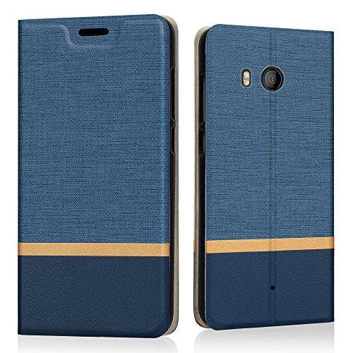 {Riffue} HTC U11ケース 手帳型 HTC U11 HTV 33 カバー おしゃれ ジーンズ PUレザー かわいい カード収納 衝撃吸収 スタンド 薄型 防水 HTC U11 ケース-ネイビー