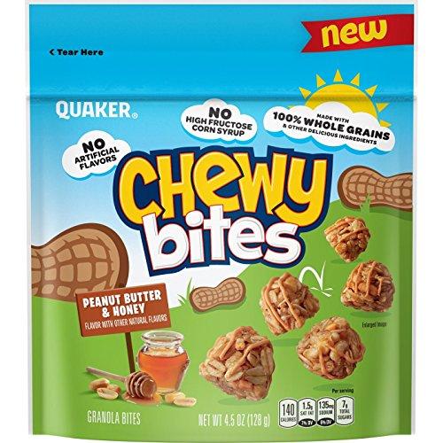 Quaker Peanut Butter & Honey Flavored Chewy Bites クエーカーピーナッツバター&ハニーフレーバードクッキー128g [並行輸入品]
