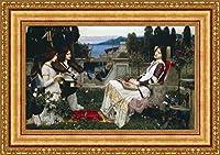 (v04–18–19) ジョン・_ William Waterhouse Saint Cecilia 1895_フレーム_キャンバス_ Giclee_プリント_ w35.5_ X h22 >[Small] #11-Gold V04-18K-MD535-01