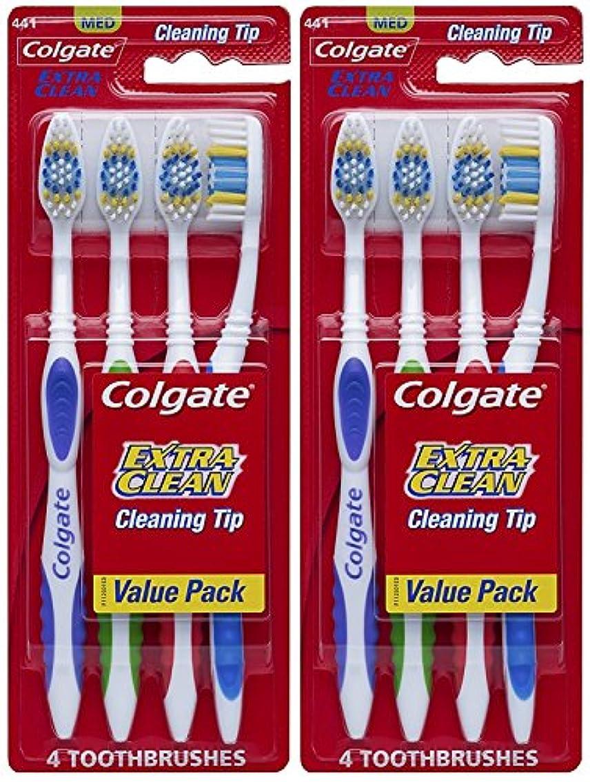 信頼性穿孔する十一Colgate エクストラクリーン完全な頭部、ミディアム歯ブラシ、4-カウント(2パック)合計8歯ブラシ 8カウント