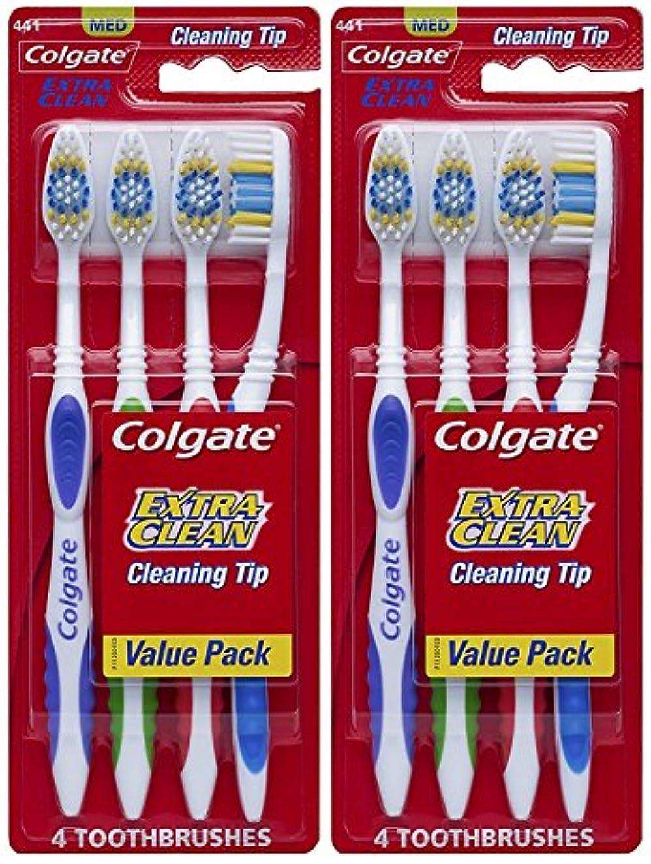 弾力性のあるレンダリングジョージスティーブンソンColgate エクストラクリーン完全な頭部、ミディアム歯ブラシ、4-カウント(2パック)合計8歯ブラシ 8カウント