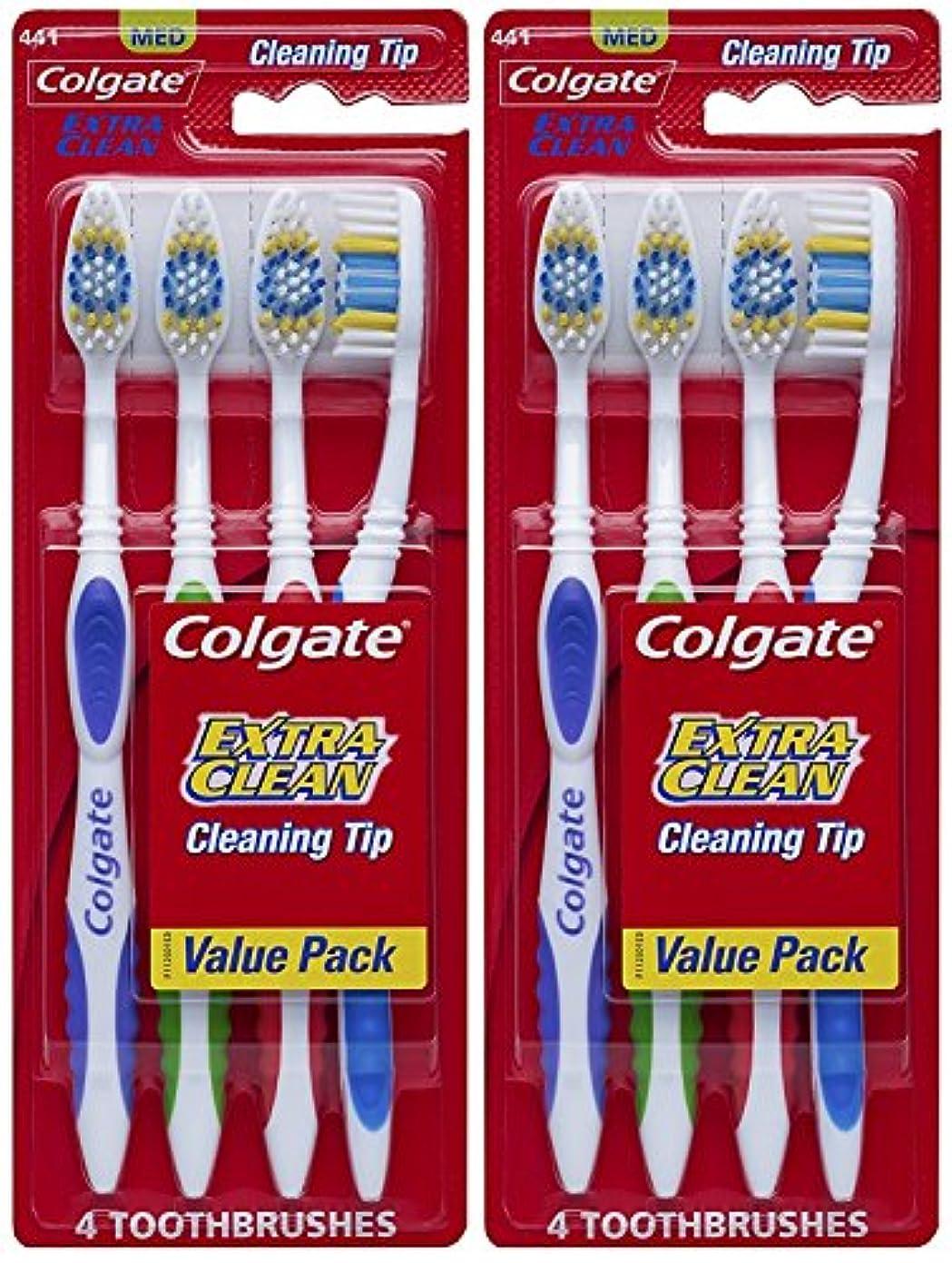 寛容なうつ認めるColgate エクストラクリーン完全な頭部、ミディアム歯ブラシ、4-カウント(2パック)合計8歯ブラシ 8カウント