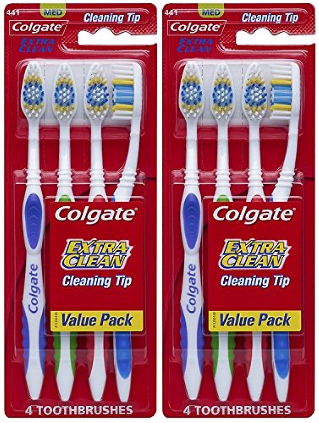 気絶させる北へ家事をするColgate エクストラクリーン完全な頭部、ミディアム歯ブラシ、4-カウント(2パック)合計8歯ブラシ 8カウント