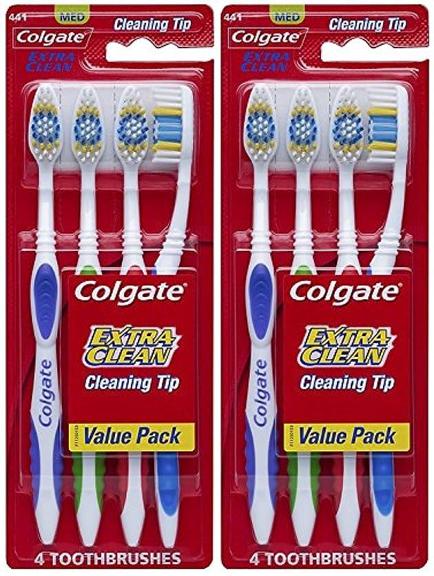 心配するわかりやすい喪Colgate エクストラクリーン完全な頭部、ミディアム歯ブラシ、4-カウント(2パック)合計8歯ブラシ 8カウント