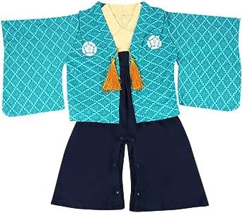 紋付袴(はかま)風 ベビー羽織付きロンパース 【247153】