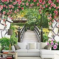 Xbwy 3D壁の壁画庭の花壁木製の橋風景写真の壁紙カスタマイズされた寝室のテレビの背景壁紙壁紙用3D-250X175Cm