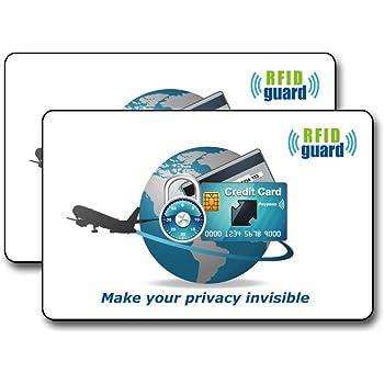 海外旅行用品にクレジットカードや銀行カード、ICカードなどをスキミング被害や電子マネースリから守るカード! 【厚さ0.3mm / RFID Guard カード】 2枚入り
