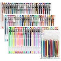 LIHAO ジェルボールペン 72色セット カラーペン 多色ペン カラフルペン 中性 蛍光ペン 塗り絵用 72色レフィル付き ケース付き